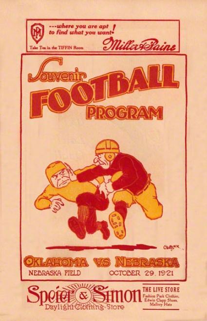 19Z1 Neebraska Vs Oklahoma 22 X 30 Canvas Historic Football Print