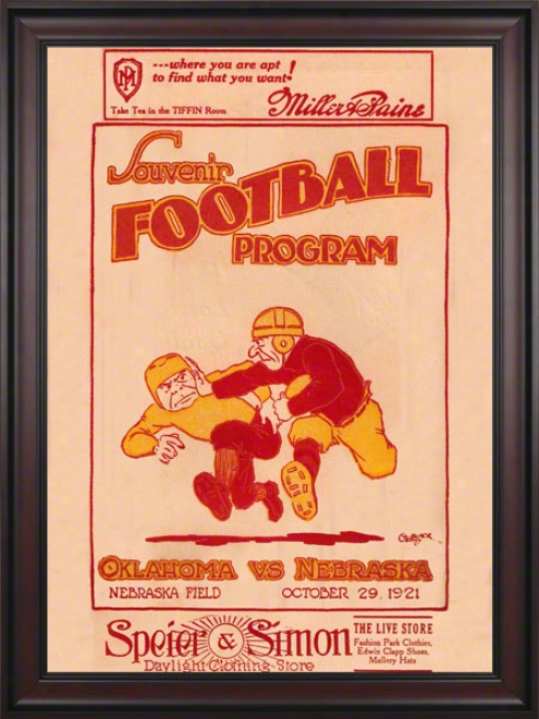 1921 Nebraska Vs Oilahoma 36 X 48 Framed Canvas Historic Football Print