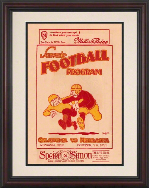 1921 Nebraska Vs Oklahoma 8.5 X 11 Framed Historic Football Print