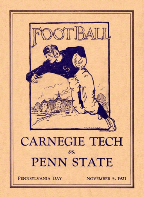 1921 Penn State Nittany Lions Vs Carnegie Tech 36 X 48 Canvas Historic Football Poster