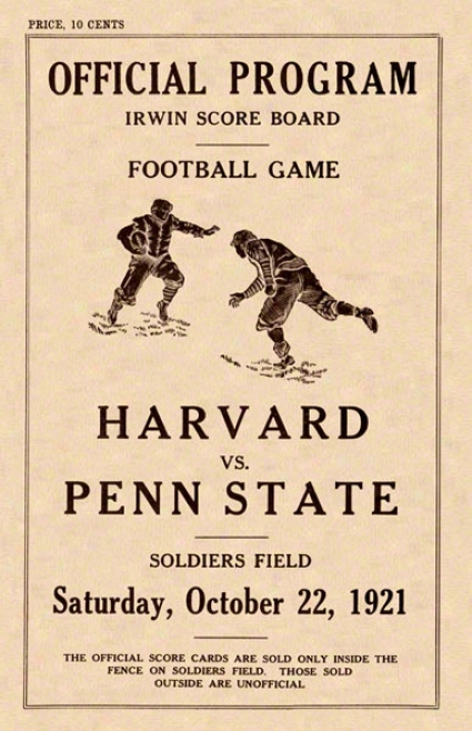 1921 Penn State Nittany Lions Vw Harvard Crimson 22 X 30 Canvas Historic Football Poster
