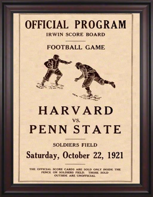 1921 Penn State Nittany Lions Vs Harvard Crimson 36 X 48 Framed Canvas Historic Football Poster