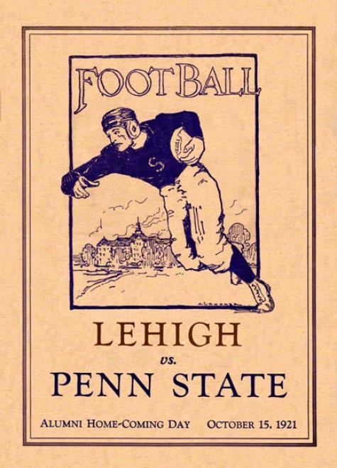 1921 Penn Sttae Nittany Lions Vs Lehigh Mountain-hawks 22 X 30 Canvas Historic Football Poster