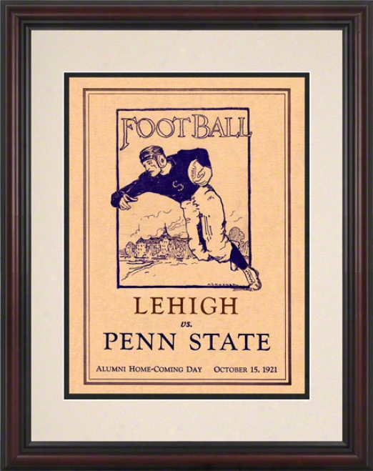 1921 Penn State Nittany Lions Vs Lehigh Mountain-hawks 8.5 X 11 Framed Historic Football Poster