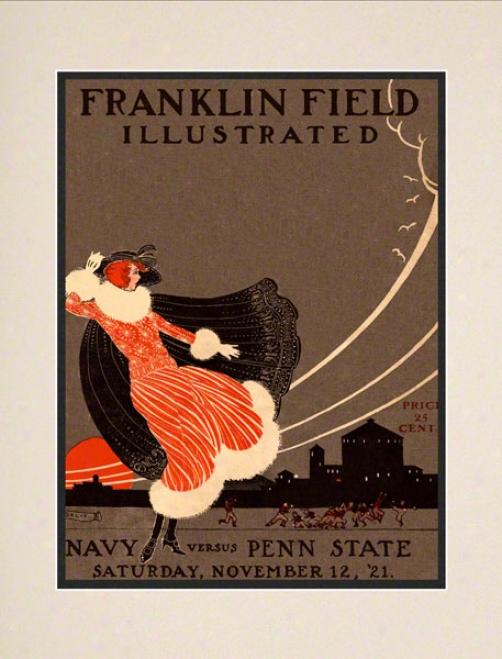 1921 Penn State Nittany Lions Vs Navy Midshipmen 10 1/2 X 14 Matted Historic Football Poster