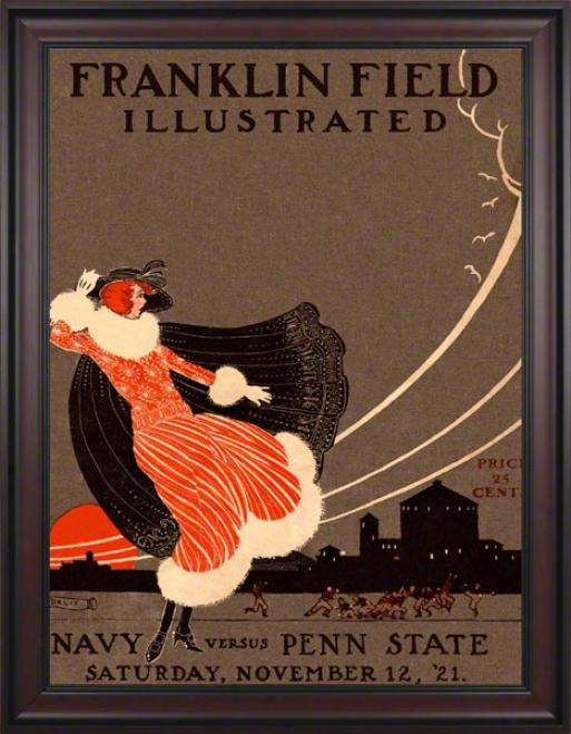 1921 Penn State Nittany Lions Vs Navy Midshipmen 36 X 48 Framed Canvas Historicc Football Postrr