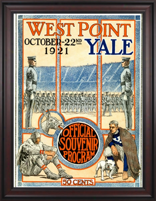 1921 Yale Bulldogs Vs. Army Black Knights 36 X 48 Framed Canvas Historic Football Print