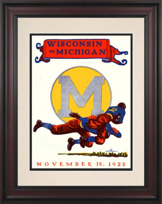 1922 Michigan Vs. Wisconsin 10.5x14 Framed Historic Football Print