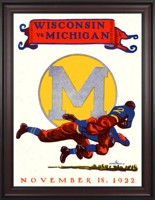 1922 Michigan Vs. Wisconsin 36 X 48 Framed Canvas Historic Football Mark