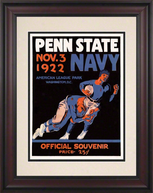 1922 Navy Midshipmen Vs Penn State Nittany Lions 10 1/2 X 14 Framed Historic Football Poster