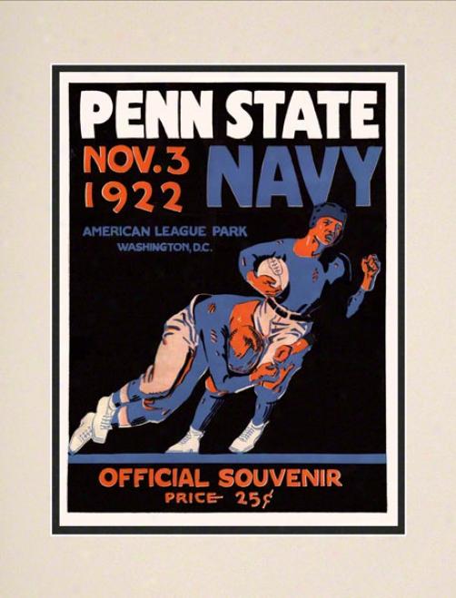 1922 Naavy Midshipmen Vs Penn State Nittany Lions 10 1/2 X 14 Matted Historic Football Poter