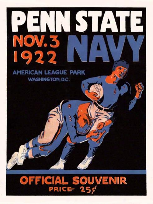 1922 Navy Midshipmen Vs Penn State Nittany Lions 36 X 48 Canvas Historic Football Poster