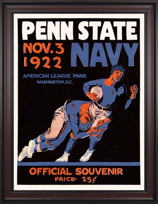 1922 Navy Midshipmen Vs Penn State Nittany Lions 36 X 48 Framed Canvas Historic Football Poster