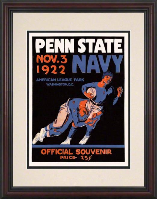 1922 Navy Midshipmen Vs Penn National Nittany Lions 8.5 X 11 Framed Historic Football Placard