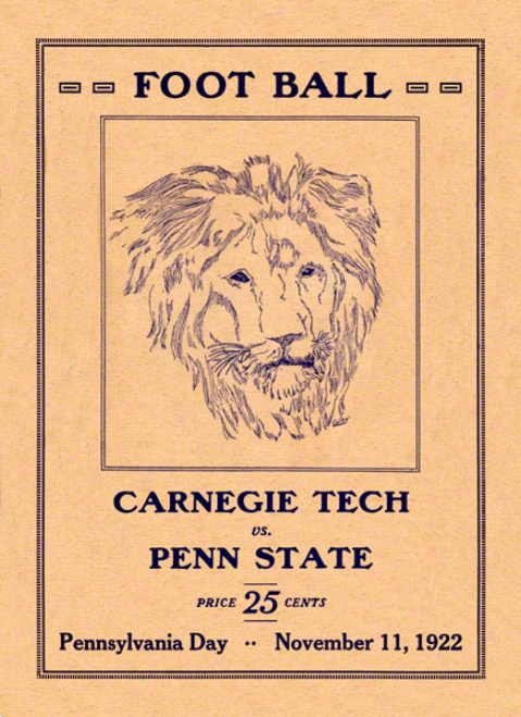 1922 Penn State Nittany Lions Vs Carnegie Tech 22 X 30 Canvas Hstoric Football Poster
