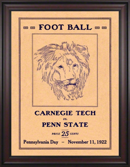 1922 Penn State Nittany Lions Vs Carnegie Tech 36 X 48 Framed Canvas Historic Football Poster