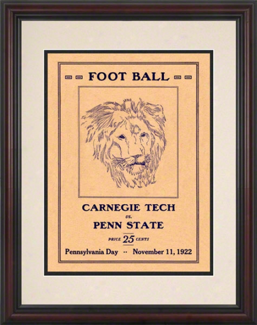 1922 Penn State Nittany Lions Vs Carnegie Tech 8.5 X 11 Framed Historic Football Poster