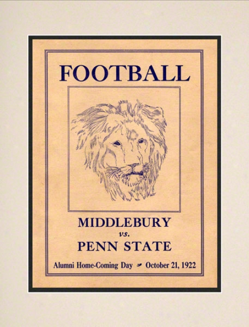 1922 Penn State Nittany Lions Vs Middlebury 10 1/2 X 14 Matted Historic Football Poster