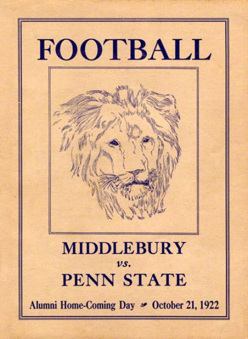 1922 Penn State Nittany Lions Vs Middlebury 22 X 30 Canvas Historic Football Poster