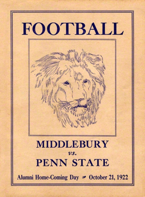 1922 Penn State Nittany Loins Vs Middlebury 36 X 48 Canvas Historic Football Poster