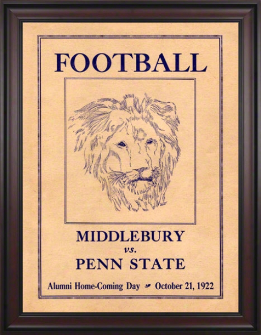 1922 Penn State Nittany Lions Vs Middlebury 36 X 48 Framed Canvas Historic Football Poster