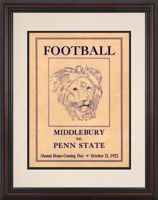 1922 Penn Express  Nittany Lions Vs Middlebury 8.6 X 11 Framed Histtoric Football Poster