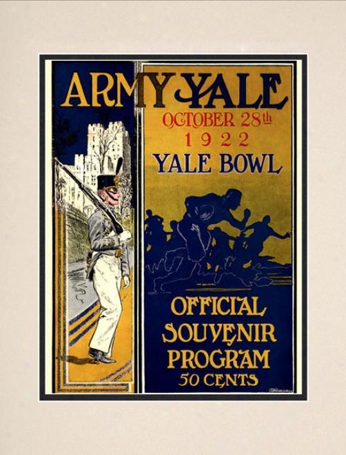 1922 Yale Bulldogs Vs. Army Black Knights 10.5x14 Matted Historic Football Print