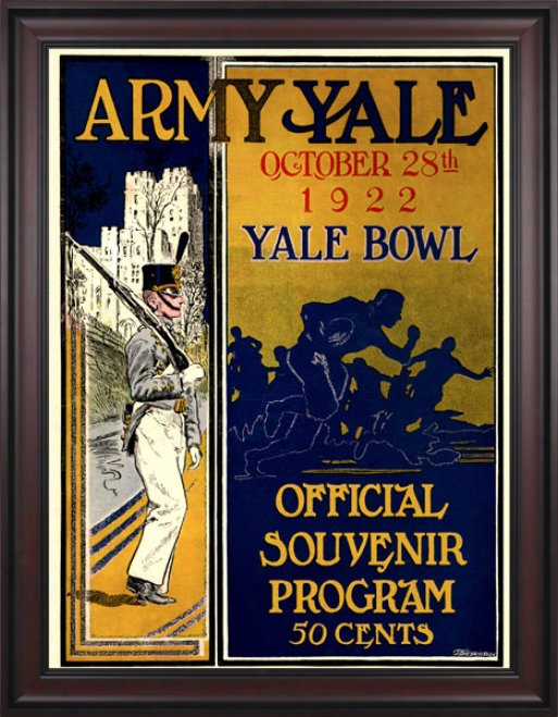 1922 Yale Bulldogs Vs. Army Wicked Knights 36 X 48 Framed Canvas Historic Football Print