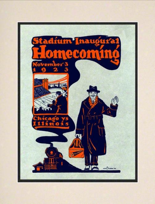 1923 Illinois Vs. Chicago 10.5x14 Matted Historic Football Print