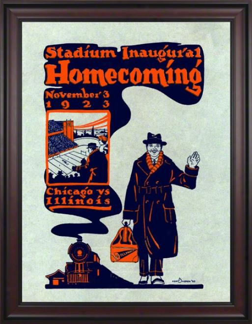 1923 Illinois Vs. Chicago 36 X 48 Framed Canvas Historic Football Print