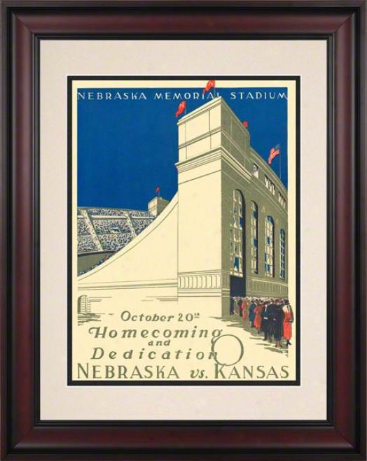 1923 Nebraska Vs. Kansas 10.5x14 Framed Historic Football Print