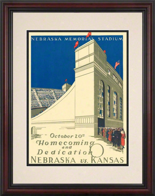 1923 Nebraska Vs. Kansas 8.5 X 11 Framed Historic Football Ptint