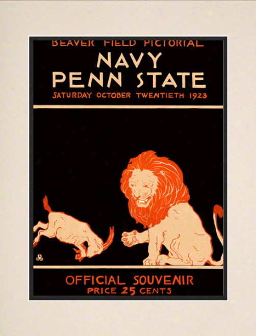 1923 Penn State Nittany Lions Vs Navy Midshipmen 10 1/2 X 14 Matted Historic Football Poster
