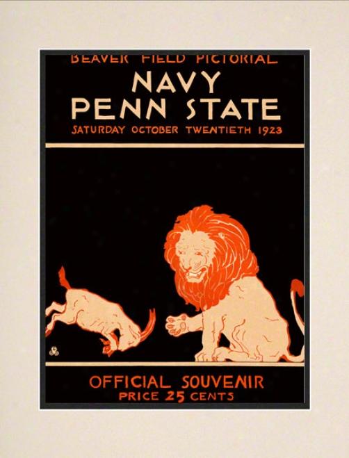 1923 Penn State Nittany Lions Vs Navy Midshipmen 10 1/2 X 14 Matted Historic Football Poster