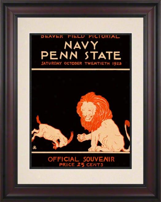 1923 Penn State Nittany Lions Vs Navy Midshipmen 10 1/2 X 14 Framed Historic Football Poster