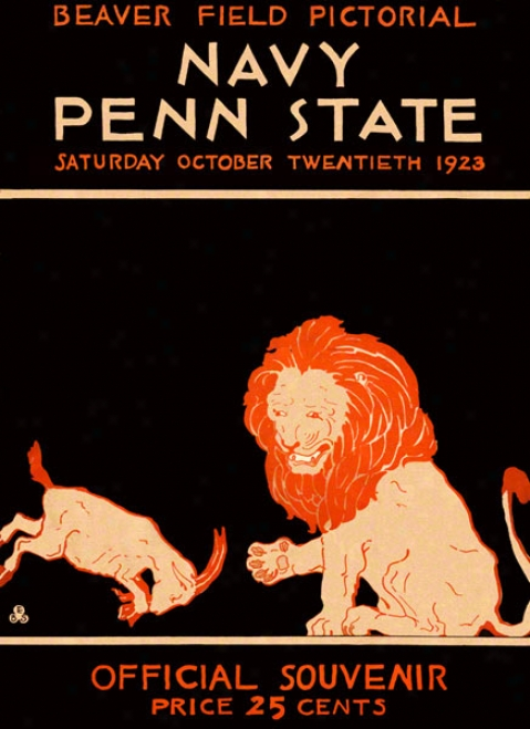 1923 Penn State Nittany Lions Vs Navy Midshipmen 36 X 48 Canvas Historic Football Poster