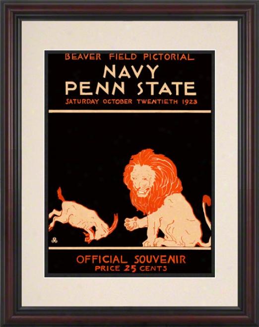1293 Penn State Nittany Lions Vs Navy Midshipmen 8.5 X 11 Framed Historic Football Posrer