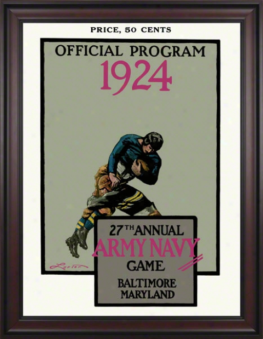 1924 Army Vs. Navy 36 X 48 Framed Canvas Historic Football Print