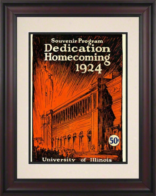 1924 Illinois Vs. Michigan 10.5x14 Framed Historic Football Print