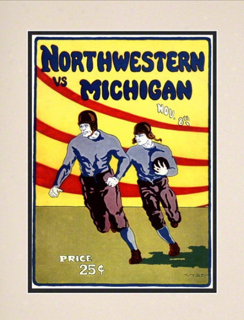 1924 Michigan Vs. Northwestern 10.5x14 Matted Historic Football Print