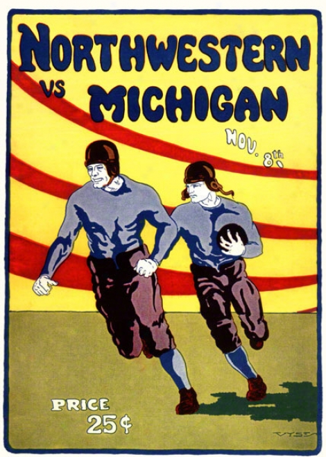 1924 Michigan Vx. Northwestern 22 X 30 Cqnvas Historic Football Print