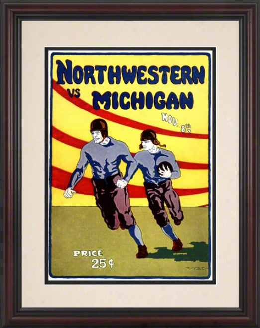 1924 Michigan Vs. Northwestern 8.5 X 11 Framed Historic Football Impression