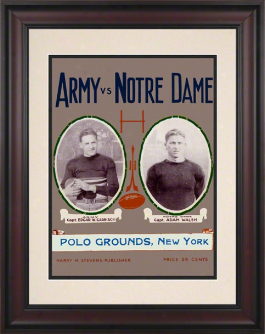 1924 Notre Dame Fighting Irish Vss Army Black Knights 10 1/2 X 14 Framed Historic Football Poster