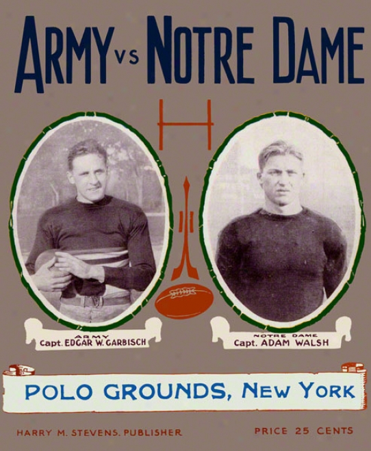 1924 Notre Dame Fighting Irish Vs Army Black Knights 22 X 30 Canvas Historic Football Poster