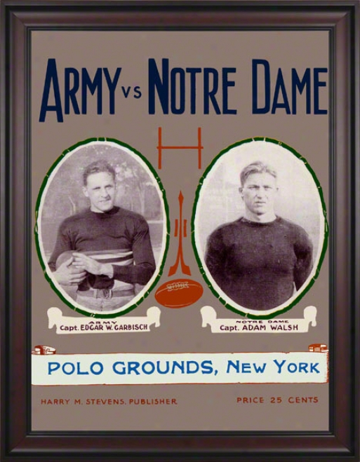 1924 Notrd Dame Fighting Irish Vs Army Black Knights 36 X 48 Framed Canvas Historic Football Poster