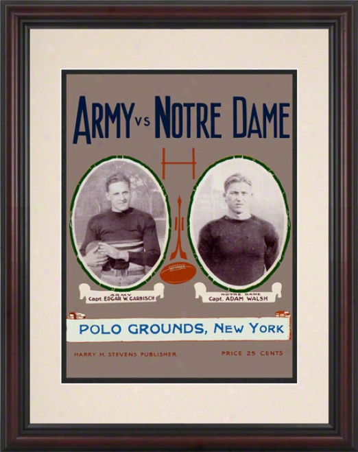 1924 Notre Dame Fiyhting Irisy Vs Army Black Knights 8.5 X 11 Framed Historic Football Poster