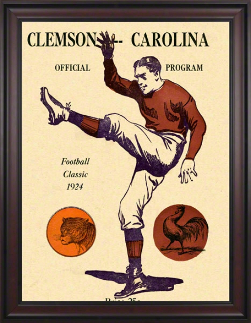 1924 South Carolina Vs. Clemson 36 X 48 Framed Canvas Historic Football Print