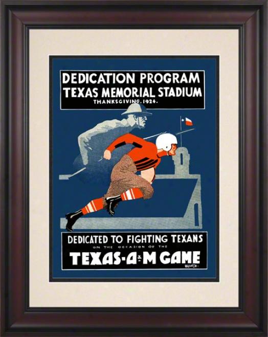 1924 Texas Vs. Texas A&m 10.5x14 Framed Historic Fpotball Print