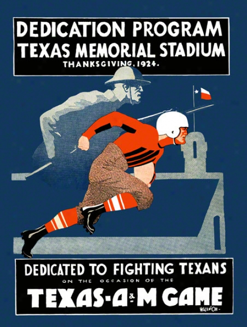 1924 Texas Vs. Tsxas A&m 22 X 30 Canvas Historic Football Print