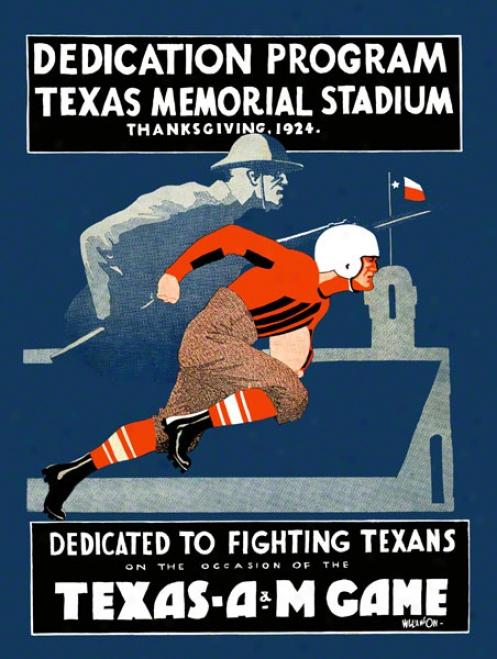 1924 Texas Vs. Texas A&m 36 X 48 Canvas Historic Football Print